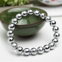 9mm Genuine Natural Gibeon Iron Meteorite Sliver Plated Fashion Jewelry Bracelets For Women Mens Round Stretch Bead Bracelet