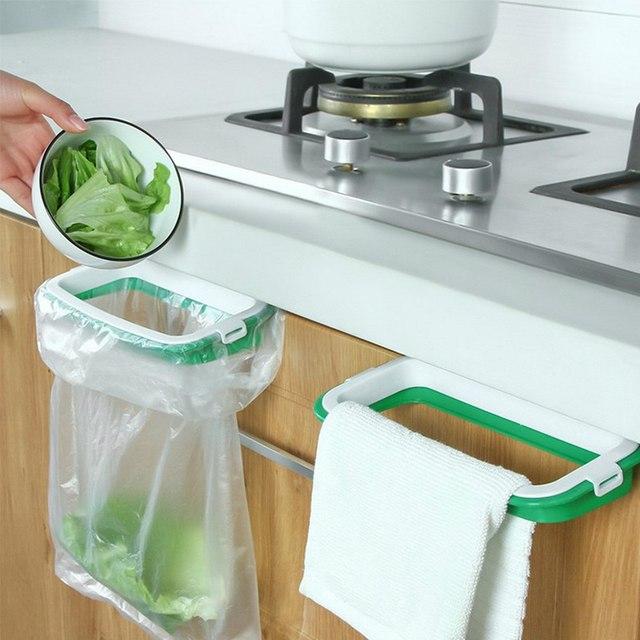 Kitchen Trash Storage Hanger Garbage Bag Holder Plastic Bracket Stand Rack Kitchen Accessories Kitchen Gadgets