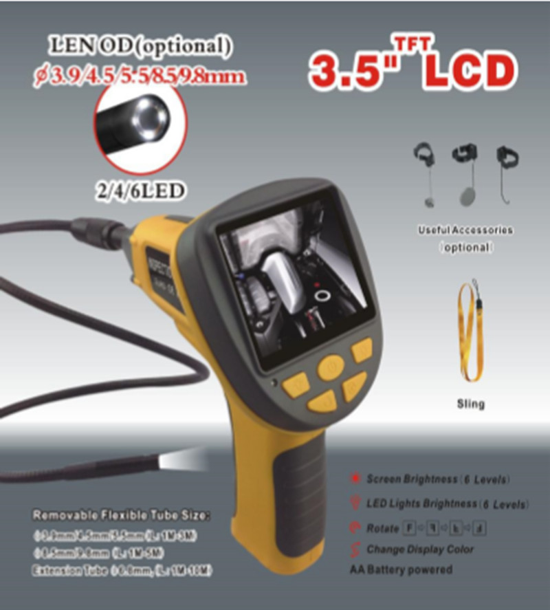 3.5 Inch 8.5mm 180Degree Image Ratation AV Handheld Endoscope
