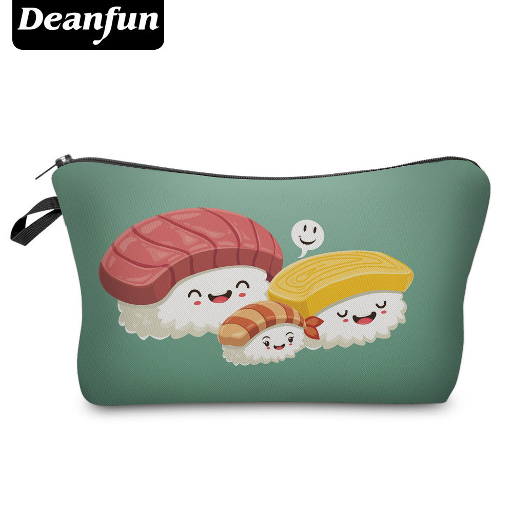 Deanfun 3D Printing Women Cosmetic Bags Smile Sushi Polyester Fashion Organizer For Travel Gift 50926 #