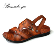 BIMUDUIYU D'été Hommes Sandales Occasionnels Double usage Chaussures De Mode Respirant/Doux Mâle Plage Chaussures Super Non-slip Flip Flop
