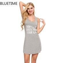 Bluetime Женские повседневные рубашки сна Цельнокройное платье ночи женские мягкие летние шорты ночная рубашка Черный, Серый Дамы пижамы 20YP