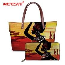WHEREISART Black Art Afro Printing African Girls Women Messenger Bag Large tote for Vogue Purse with Handbag Set 2019