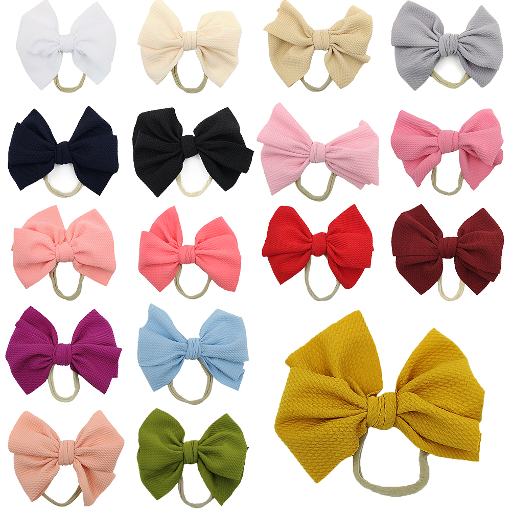 20pcs/lot Knot Bow Headbands Girls Hair Accessories Kids Gift Handmade Soft Nylon Headband Sweet Headwrap Baby Bows Hair Band