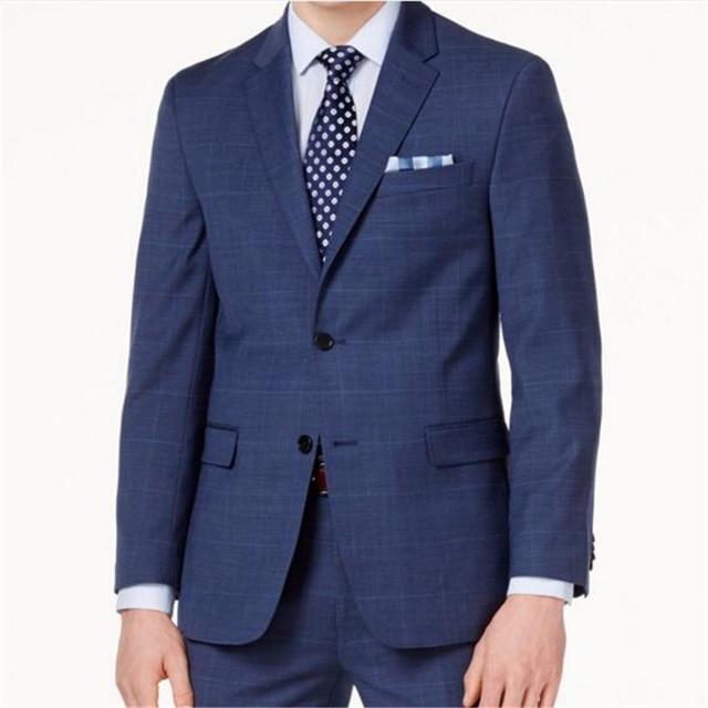 Marine Bleu À Carreaux Hommes Costumes Custom Made Slim Fit Glen Plaid  Costumes de mariage Pour afedad395e9