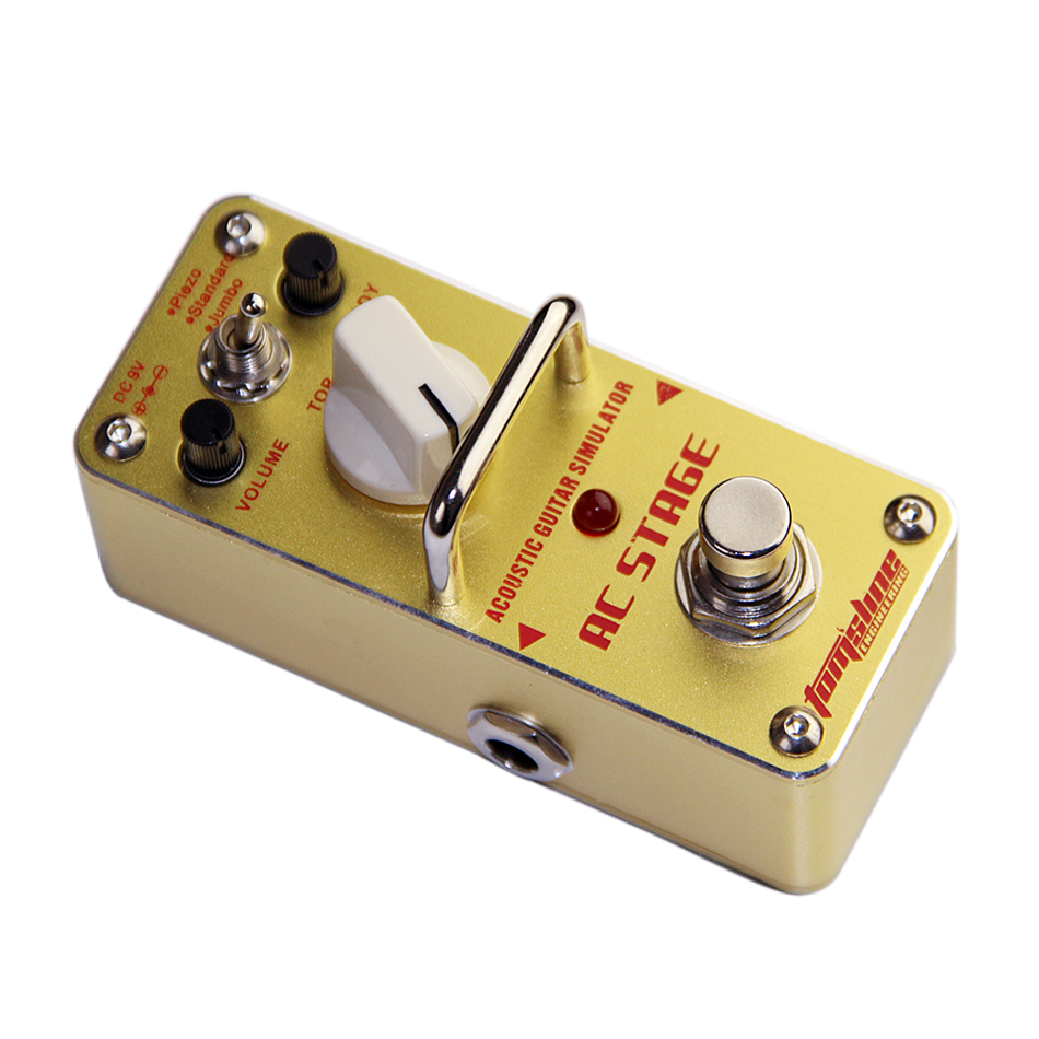 Promotion!! AROMA AAS-3 AC STAGE Acoustic guitar simulator Mini Analogue Effect True Bypass with tunner ,and 1guitar connector aroma pure echo digital delay guitar effect mini analogue pedal ape 3 true bypass metal shell level knob durable accurate