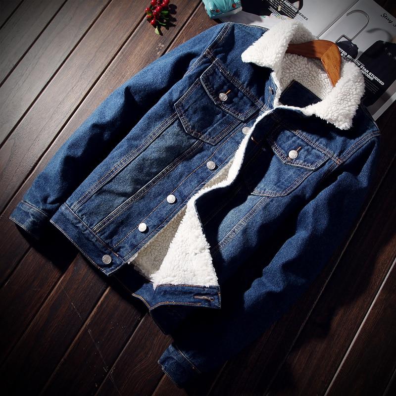 Winter Fashion Mens Jean Jacket Outwear Male Cowboy Men Jacket And Coat Trendy Warm Fleece Denim Jacket