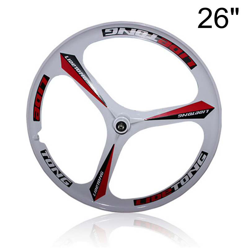26'' Front Or Rear Rim For MTB Mountain Bike, 3 Spokes Magnesium Alloy Wheel, Bearing Type, Front Wheel Support Quick Release