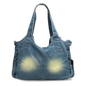 Image 4 - Ipineeファッション女性のバッグヴィンテージカジュアルなデニムハンドバッグ女性大容量ジーンズトート織りテープ創造ショルダーメッセンジャーバッグ