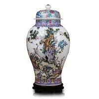 Jingdezhen ceramics factory direct eighteen general tank landing large crane famille rose vase