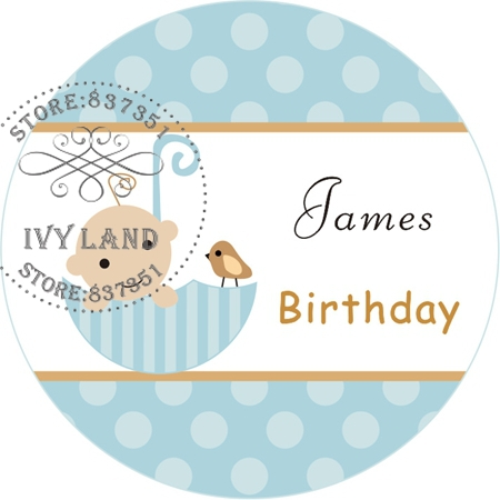 Free Shipping,New Paper,Custom Adhesive Sticker / Label,For Baby Shower / Birthday,Circle 5cm,B23