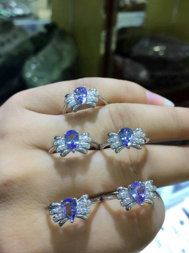 Natural blue tanzanite gem Ring Natural gemstone ring S925 sterling silver trendy Elegant Angel wings women girl gift Jewelry rhinestone angel wings ring