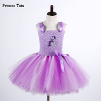 Cute Children Girls Purple Rainbow Tutu Dress Princess Baby Girl Cartoon Pony Dress Costume Tulle Girl