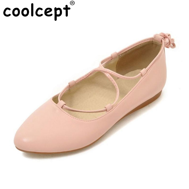 Size 33-43 Ladies New Fashion Flats Women Cross Strap Shoes Soft Slip-On Sexy Pointed Toe Flats Low Heels Leisure Escarpin new 2017 spring summer women shoes pointed toe high quality brand fashion womens flats ladies plus size 41 sweet flock t179