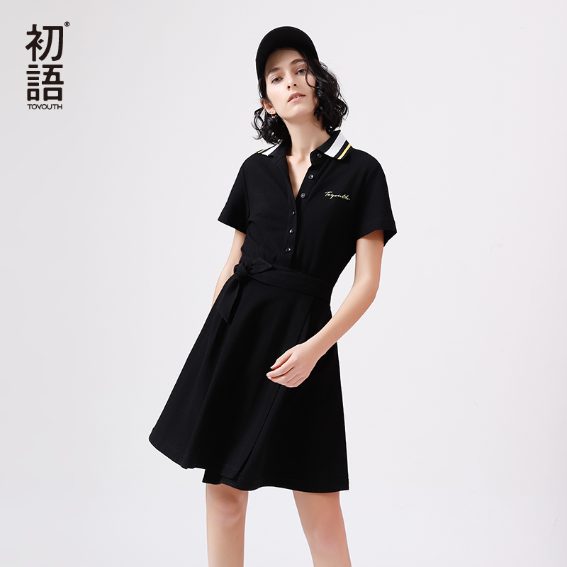 Toyouth Harajuku Polo Shirt Mid Dress A-Line Bandage Robe Femme Casual Striped Cotton Vestidos Summer Black Dresses for Women