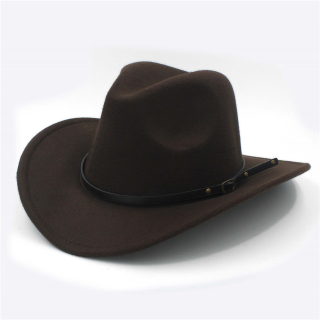 8aeb4906fa48d Lana retro mujeres hombres invierno Fedora sombrero para Western cowboy cowgirl  Jazz gorra con cuero toca