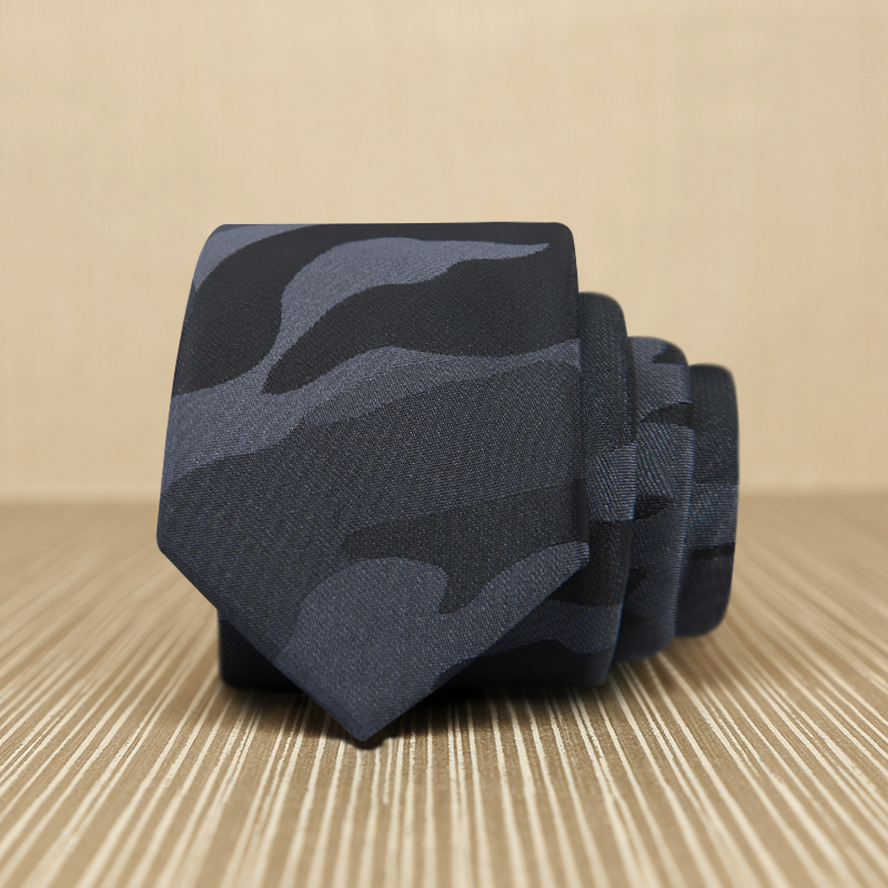 2018 New Mens Shirt Business Ties Black Grey Camouflage Jacquard Woven Silk Ties for Men 5CM Slim Skinny Gravata Gift Box L5049