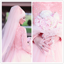 MZYW0354 full long sleeve high neck with hijab heavy beaded vestido de casamento long sleeve muslim wedding dress
