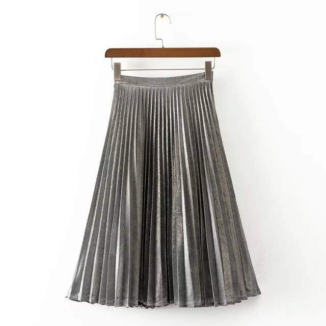 Women skirt  shiny pleated skirt yellow silver purple empire 3color SML mid-knee length Lined faldas saia jupe etek high waist