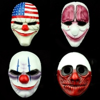 Halloween Cosplay Masquerade Prop Full Face Mask Movie Payday2 Joker Dallas Wolf Hoxton Chains Resin Party Masks
