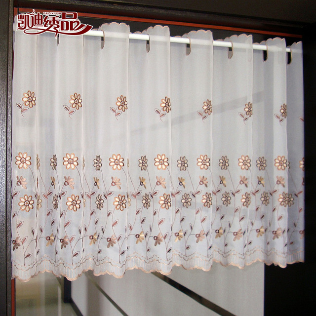 Door Curtain Luxurious Flower Embroidered Window Screen White Valance Coffee For Kitchen Cabinet Tt 0102