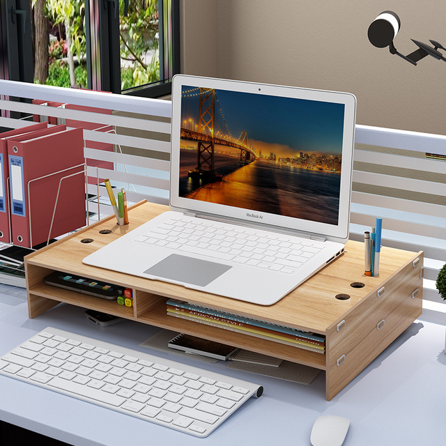 Monitor Stand Desktop Computer Monitor Riser Wooden