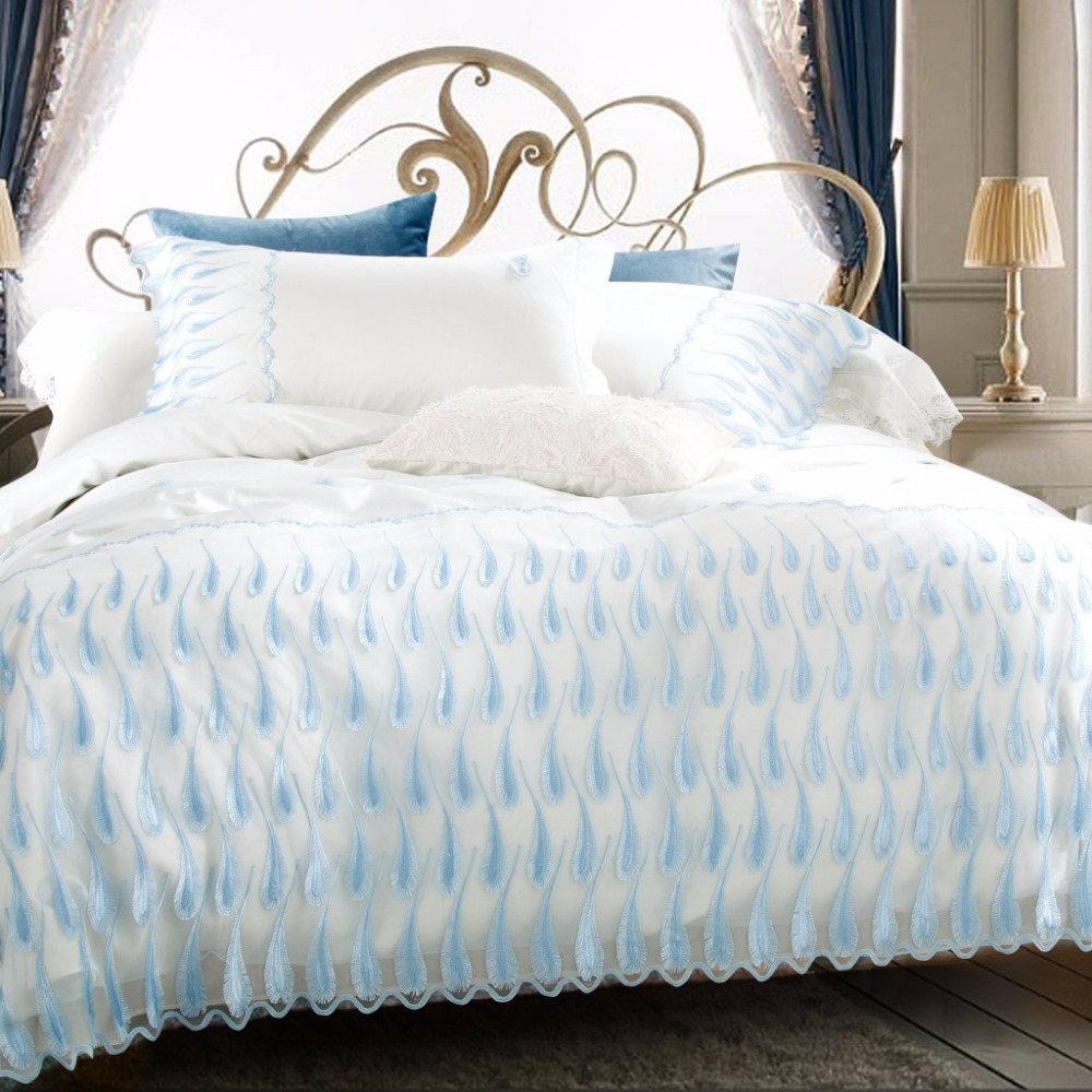 Blue bedroom sets for girls - Luxury Lace Bedding Sets Girls Egypt Cotton White Bule Royal Bed Set Queen King Size
