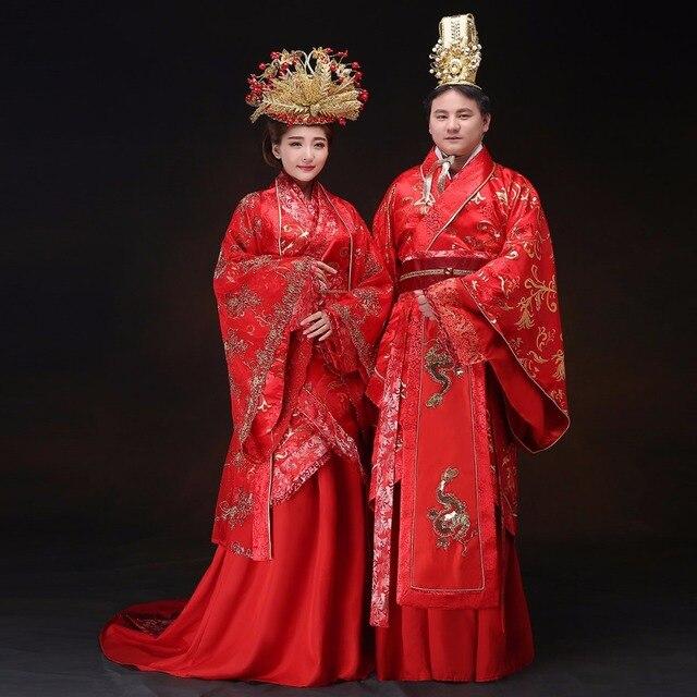 Chinois style de mariage Mari mari e rouge Hanfu robe