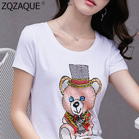 Cute Bear T-Shirts Short Sleeve O Neck Soft Cotton Tops Beading Diamonds Women's T Shirts Oversize Cartoon Tshirts Lady Summer