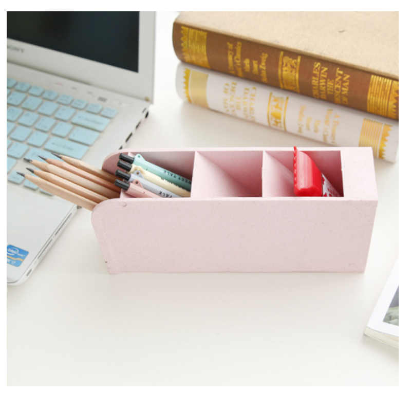Творческий Пшеничная солома чистый цвет коробка для хранения многофункциональный Настольный ящик для хранения офисная ручка канцелярский органайзер для хранения
