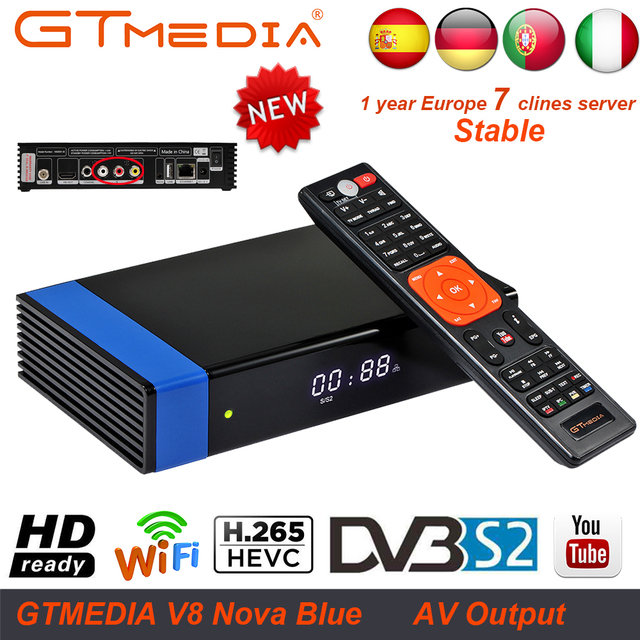 1 Year Europe Cline Genuine Freesat GTMedia V8 Nova Blue Full HD DVB-S2 H.265 WiFi Satellite Receiver Upgrade From V8 Super Deco
