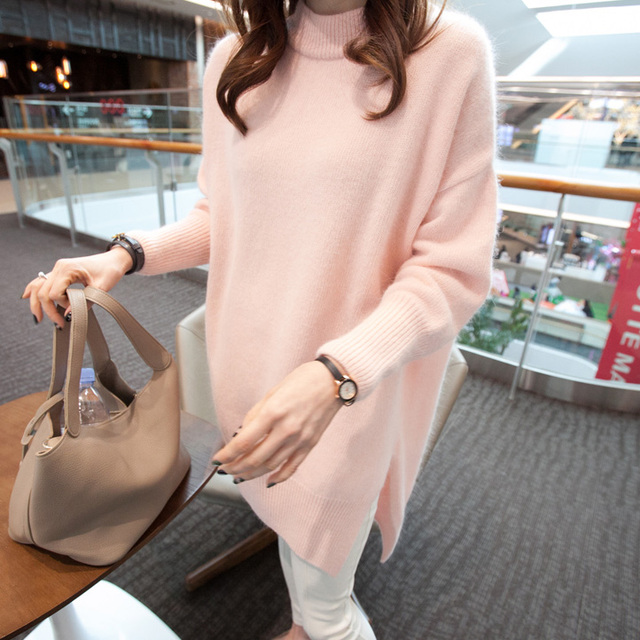 Pink Long Sweater Women Loose Knitted Pullover Mohair Sweater Asymmetrical Jumper Casual Spring Autumn Tricot T51201