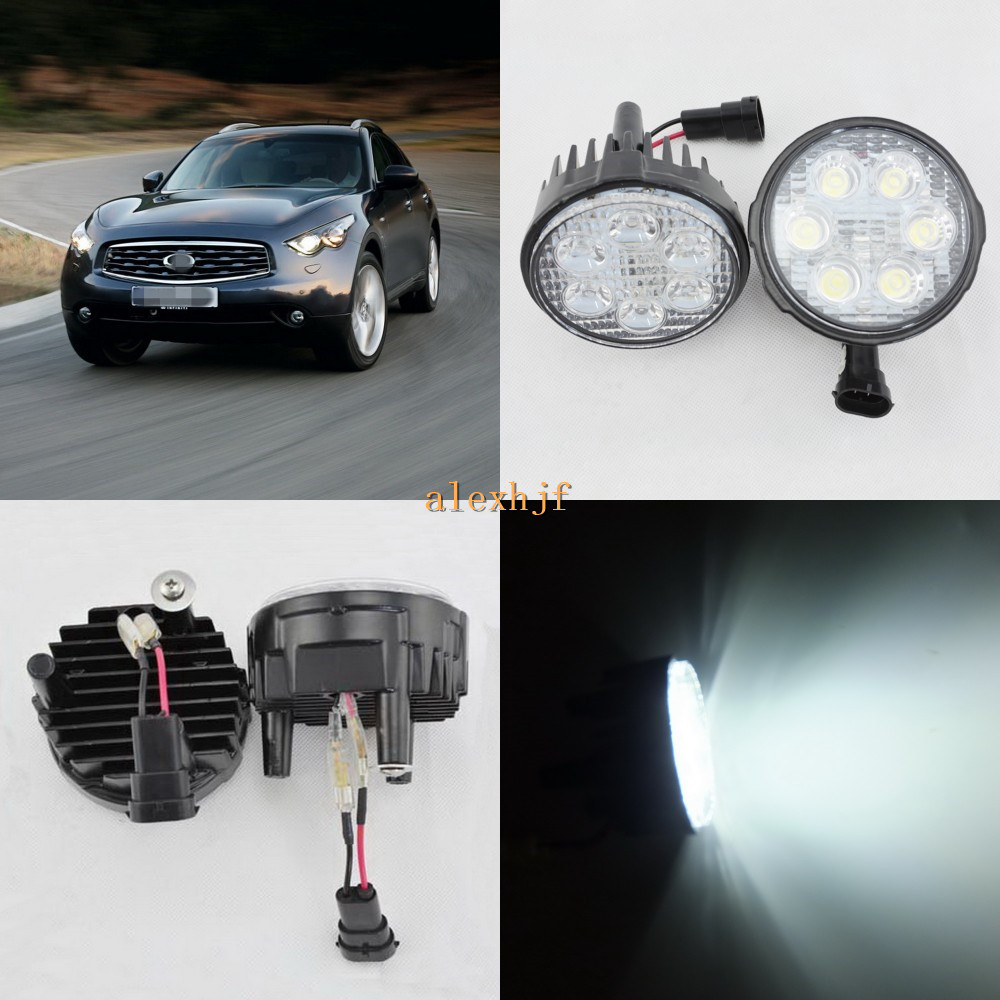 July King 18W 6LEDs H11 LED Fog Lamp Assembly Case for Infiniti FX35 FX37 FX45 FX50 etc, 6500K 1260LM LED Daytime Running Lights for infiniti fx35 37 45 50 ex35 37 h11 wiring harness sockets wire connector switch 2 fog lights drl front bumper led lamp