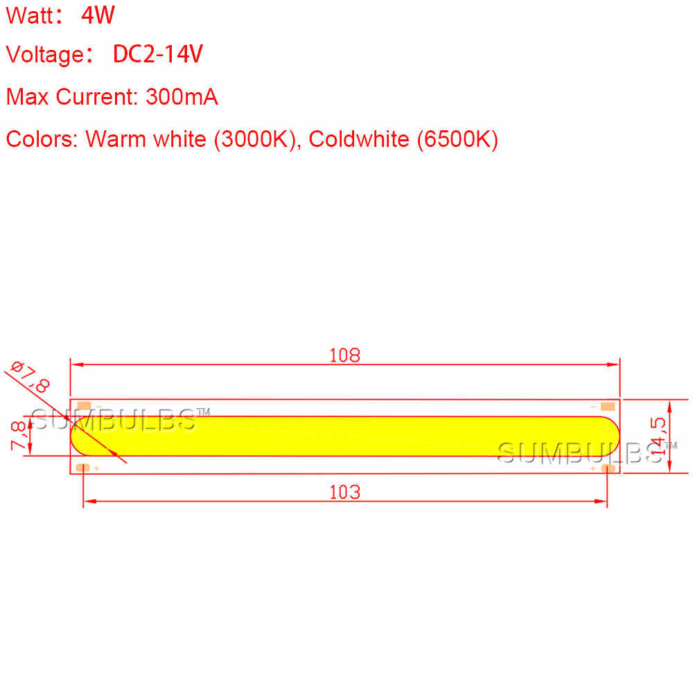 Sumbulbs DC12V COB Bulb 4W LED Lamp Strip Light Source for DIY Table Working House Lighting 108x15MM 500LM Warm Cold White