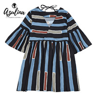 AZULINA Casual Mini Striped Dress Women Three Quarter Flare Sleeve V Neck Oversize Summer Beach Dress