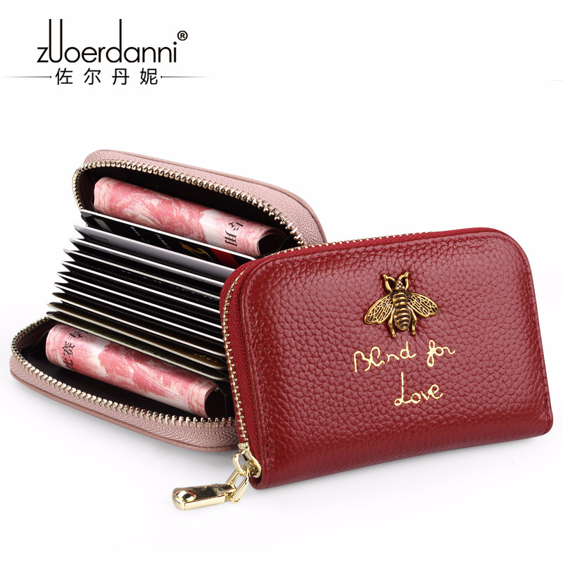 Womens Zipper Genuine Leather ID Card holder Wallets Women Cow Leather Credit ID Holders ...