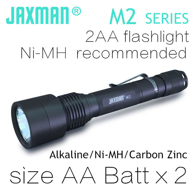JAXMAN M2 2AA LED flashlight torch light use AA LR6 UM3 battery