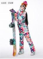 GSOU SNOW Brand Ski Suits Women Ski Jacket Pants Camouflage Sets Snowboard Jacket Pants Winter Outdoor
