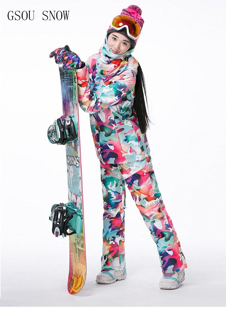 GSOU neige marque Ski costumes femmes veste de Ski + pantalon de ski ensembles de Camouflage hiver extérieur imperméable coupe vent garder au chaud veste de neige