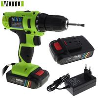 VOTO AC 100 240V Cordless 21V Electric Screwdriver With 2 Lithium Batteries And Two Speed For