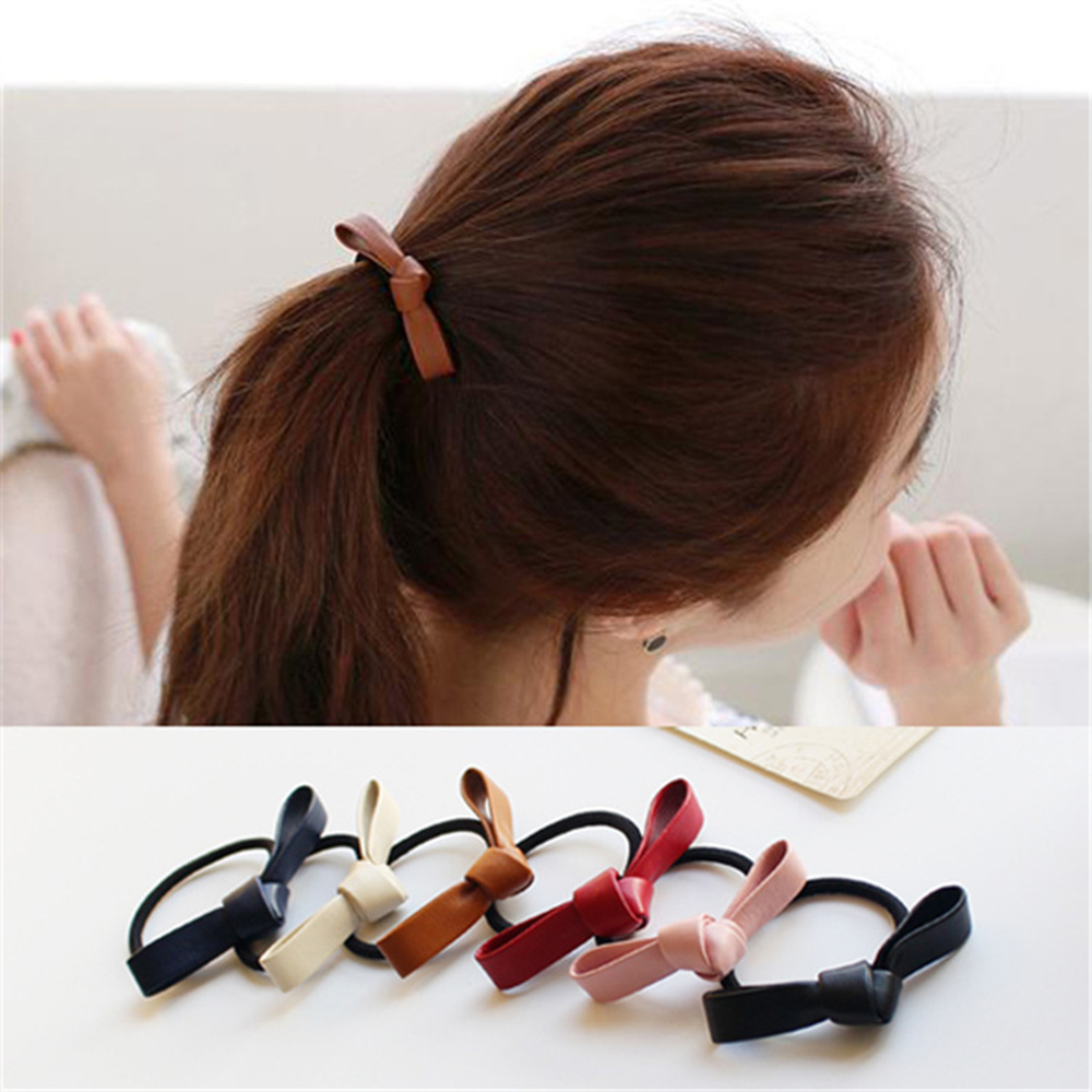 Simple Leather Hair Rope Tie Women Solid Ribbon Bow Elastic Hairband Scrunchies Girls Headwear Hair Accessories Styling Tools