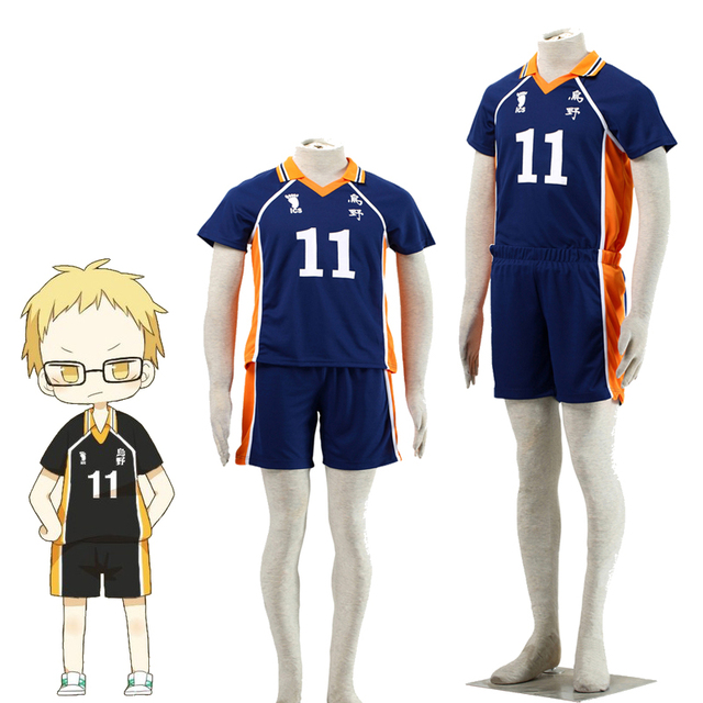 5cd0cb66aa1 High School Uniform New Anime Haikyuu!! Tsukishima Kei No.11 Cosplay  Karasuno Costume
