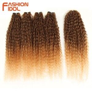 Image 2 - FASHION IDOL Afro Pelo Rizado mechones 5 unids/paquete 24 pulgadas Rubio degradado natural negro extensiones de pelo ondulado mechones de fibra sintética