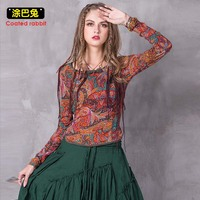 Spring Women T Shirt Brand Design Long Sleeve Tops Ladies Shirts National Style Vintage Print Embroidery