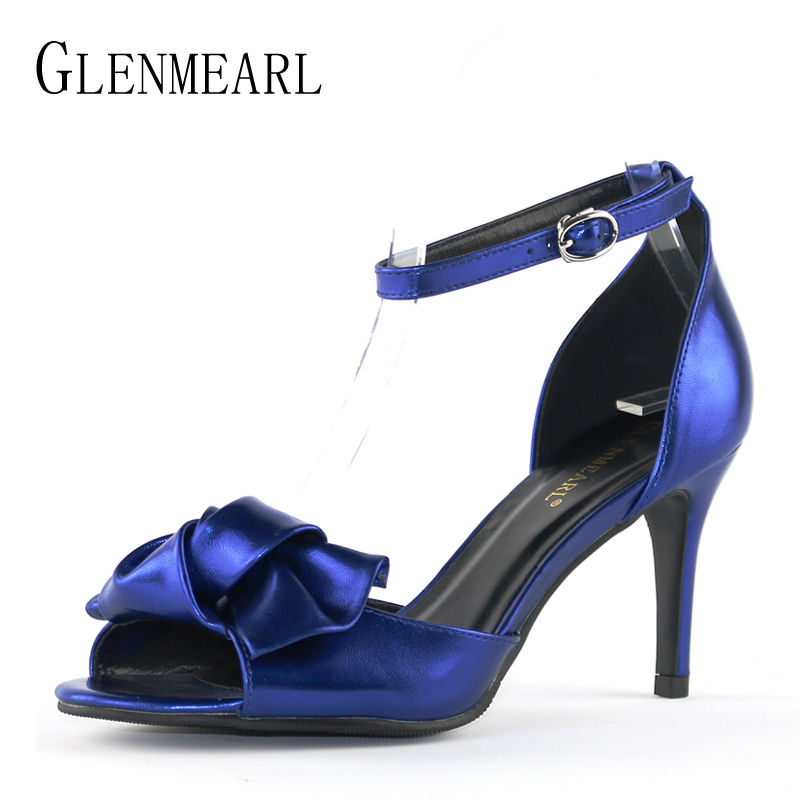 Women Sandals Brand High Heels Shoes Open Toe Ankle Strap Summer Shoes Woman Plus Size Bow Thin High Heel Wedding Sandals DE new arrival black brown leather summer ankle strappy women sandals t strap high thin heels sexy party platfrom shoes woman