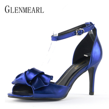 Women Sandals Brand High Heels Shoes Open Toe Ankle Strap Summer Shoes Woman Plus Size Bow Thin High Heel Wedding Sandals DE цена и фото