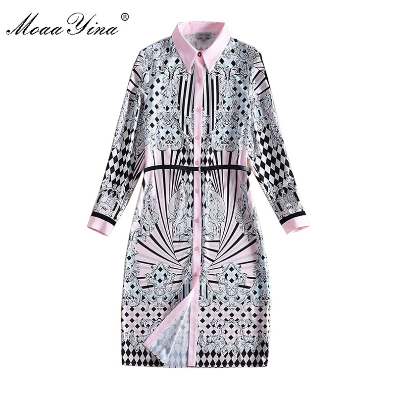 MoaaYina Fashion Designer Runway Dress Summer Women Peter pan collar Long sleeve Plaid Floral Print Belt Single-breasted Dress все цены