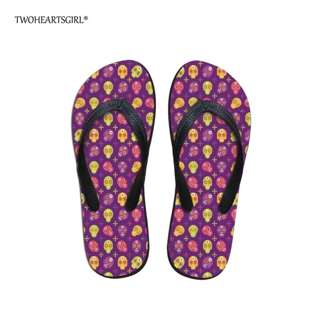 Twoheartsgirl Skull Pattern Flip Flops Classic Summer Beach Slippers Soft Comfort Rubber Flipflops Flat Heel Women Home Shoes konkord classic comfort 140x195x18
