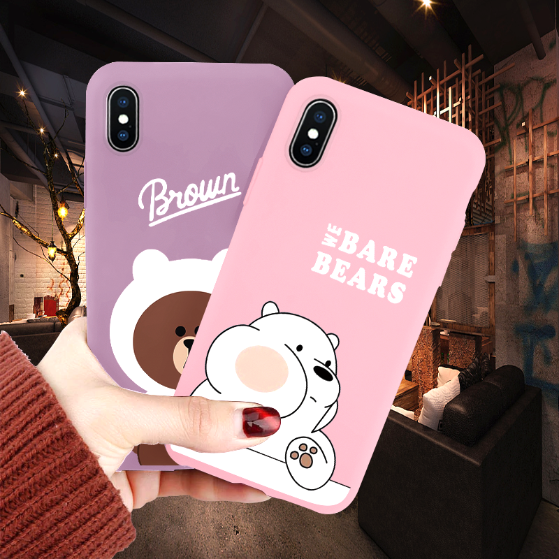 We Bare Bears Brothers Coque For IPhone 10 X XS XR XS Max Cute Cartoon Cover For IPhone 7 8 6 6S Plus Soft TPU For IPhone X Case
