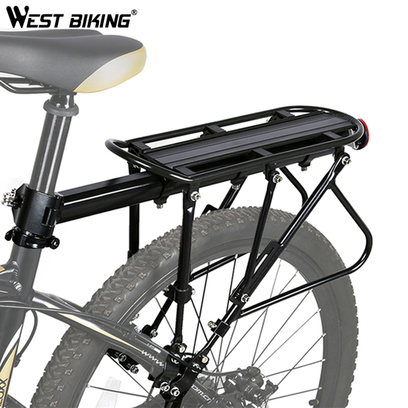 WEST BIKING Bicycle Luggage Carrier Cargo Rear Rack Bike Aluminum Alloy Cycling Seatpost Bag Holder Stand 140kg Max Bike Rack roswheel 50l bicycle waterproof bag retro canvas bike carrier bag cycling double side rear rack tail seat trunk pannier two bags